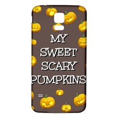 Scary Sweet Funny Cute Pumpkins Hallowen Ecard Samsung Galaxy S5 Back Case (white) by Amaryn4rt