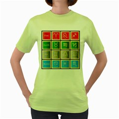 Set Of The Twelve Signs Of The Zodiac Astrology Birth Symbols Women s Green T-shirt by Amaryn4rt
