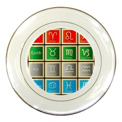 Set Of The Twelve Signs Of The Zodiac Astrology Birth Symbols Porcelain Plates by Amaryn4rt