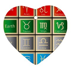 Set Of The Twelve Signs Of The Zodiac Astrology Birth Symbols Heart Ornament (two Sides) by Amaryn4rt