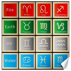 Set Of The Twelve Signs Of The Zodiac Astrology Birth Symbols Canvas 12  X 12   by Amaryn4rt