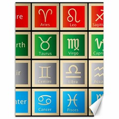 Set Of The Twelve Signs Of The Zodiac Astrology Birth Symbols Canvas 12  X 16   by Amaryn4rt