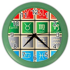 Set Of The Twelve Signs Of The Zodiac Astrology Birth Symbols Color Wall Clocks by Amaryn4rt