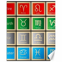 Set Of The Twelve Signs Of The Zodiac Astrology Birth Symbols Canvas 11  X 14   by Amaryn4rt
