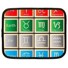 Set Of The Twelve Signs Of The Zodiac Astrology Birth Symbols Netbook Case (large) by Amaryn4rt