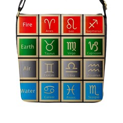 Set Of The Twelve Signs Of The Zodiac Astrology Birth Symbols Flap Messenger Bag (l)  by Amaryn4rt