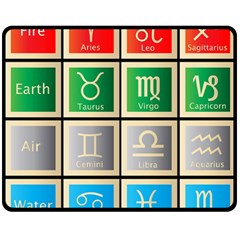 Set Of The Twelve Signs Of The Zodiac Astrology Birth Symbols Double Sided Fleece Blanket (medium)  by Amaryn4rt