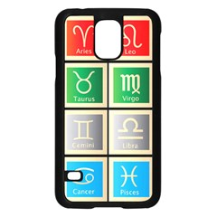Set Of The Twelve Signs Of The Zodiac Astrology Birth Symbols Samsung Galaxy S5 Case (black) by Amaryn4rt
