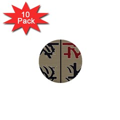Xia Script On Gray Background 1  Mini Buttons (10 Pack)  by Amaryn4rt