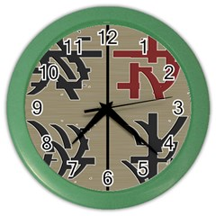 Xia Script On Gray Background Color Wall Clocks by Amaryn4rt