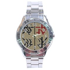 Xia Script On Gray Background Stainless Steel Analogue Watch by Amaryn4rt
