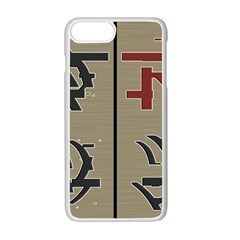 Xia Script On Gray Background Apple Iphone 7 Plus White Seamless Case
