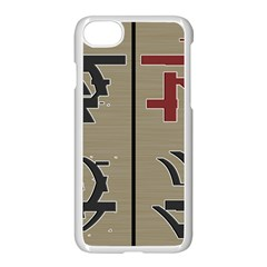 Xia Script On Gray Background Apple Iphone 7 Seamless Case (white) by Amaryn4rt