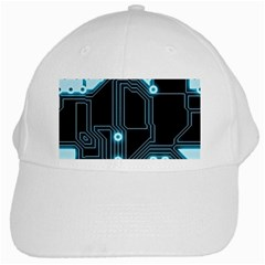 A Completely Seamless Background Design Circuitry White Cap by Amaryn4rt
