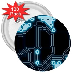 A Completely Seamless Background Design Circuitry 3  Buttons (100 Pack)