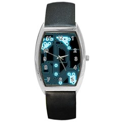 A Completely Seamless Background Design Circuitry Barrel Style Metal Watch by Amaryn4rt