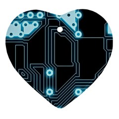 A Completely Seamless Background Design Circuitry Heart Ornament (two Sides) by Amaryn4rt