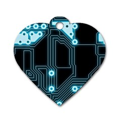 A Completely Seamless Background Design Circuitry Dog Tag Heart (one Side) by Amaryn4rt
