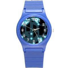 A Completely Seamless Background Design Circuitry Round Plastic Sport Watch (s) by Amaryn4rt