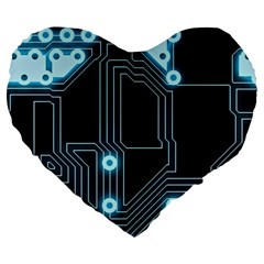 A Completely Seamless Background Design Circuitry Large 19  Premium Heart Shape Cushions by Amaryn4rt