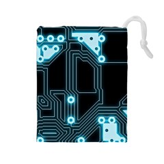A Completely Seamless Background Design Circuitry Drawstring Pouches (large)  by Amaryn4rt