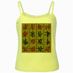Ancient Chinese Secrets Characters Yellow Spaghetti Tank by Amaryn4rt