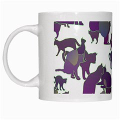 Many Cats Silhouettes Texture White Mugs by Amaryn4rt