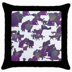 Many Cats Silhouettes Texture Throw Pillow Case (black) by Amaryn4rt