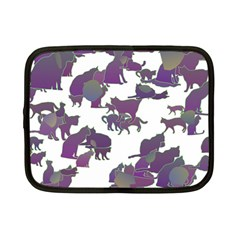 Many Cats Silhouettes Texture Netbook Case (small)  by Amaryn4rt