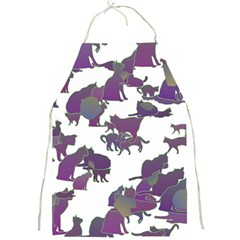 Many Cats Silhouettes Texture Full Print Aprons by Amaryn4rt