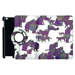 Many Cats Silhouettes Texture Apple Ipad 3/4 Flip 360 Case by Amaryn4rt
