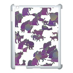 Many Cats Silhouettes Texture Apple Ipad 3/4 Case (white) by Amaryn4rt