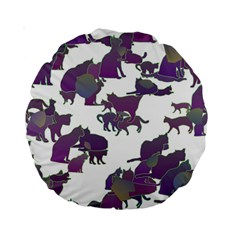 Many Cats Silhouettes Texture Standard 15  Premium Round Cushions by Amaryn4rt
