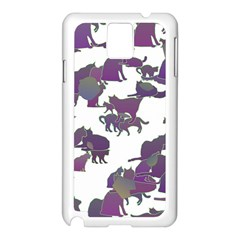Many Cats Silhouettes Texture Samsung Galaxy Note 3 N9005 Case (white) by Amaryn4rt
