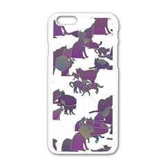 Many Cats Silhouettes Texture Apple Iphone 6/6s White Enamel Case by Amaryn4rt