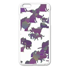 Many Cats Silhouettes Texture Apple Iphone 6 Plus/6s Plus Enamel White Case by Amaryn4rt