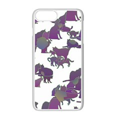 Many Cats Silhouettes Texture Apple Iphone 7 Plus White Seamless Case by Amaryn4rt