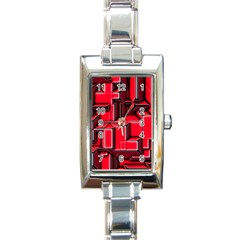 Background With Red Texture Blocks Rectangle Italian Charm Watch by Amaryn4rt
