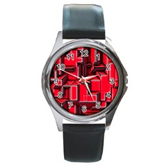 Background With Red Texture Blocks Round Metal Watch