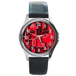 Background With Red Texture Blocks Round Metal Watch Front