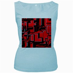 Background With Red Texture Blocks Women s Baby Blue Tank Top by Amaryn4rt