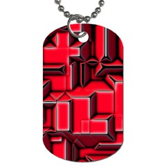 Background With Red Texture Blocks Dog Tag (one Side) by Amaryn4rt