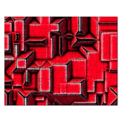 Background With Red Texture Blocks Rectangular Jigsaw Puzzl by Amaryn4rt