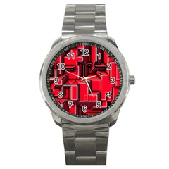Background With Red Texture Blocks Sport Metal Watch by Amaryn4rt