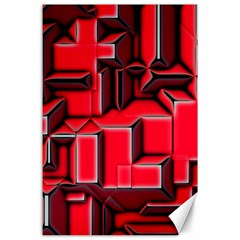 Background With Red Texture Blocks Canvas 24  X 36  by Amaryn4rt