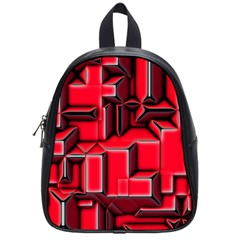 Background With Red Texture Blocks School Bags (small)  by Amaryn4rt