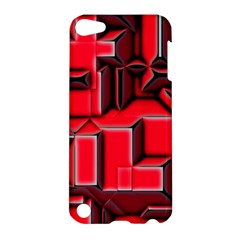 Background With Red Texture Blocks Apple Ipod Touch 5 Hardshell Case by Amaryn4rt