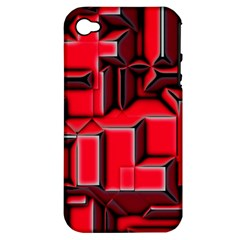 Background With Red Texture Blocks Apple Iphone 4/4s Hardshell Case (pc+silicone) by Amaryn4rt