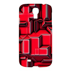 Background With Red Texture Blocks Samsung Galaxy S4 I9500/i9505 Hardshell Case by Amaryn4rt