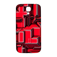 Background With Red Texture Blocks Samsung Galaxy S4 I9500/i9505  Hardshell Back Case